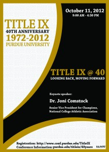 "Advertisement for the ""Title IX @ 40 conference""."