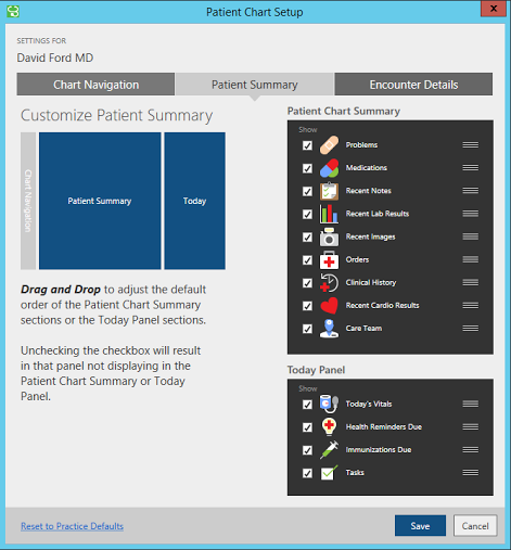 patient summary screen