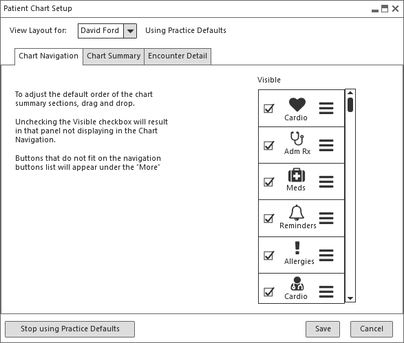Chart Nav no icons